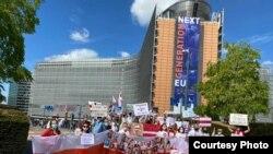 Акция солидарности диаспоры с протестами в Беларуси у здания Европейской коммиссии в Брюсселе. 19 августа 2020