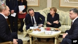 Владимир Путин, Франсуа Олланд, Ангела Меркель и Петр Порошенко