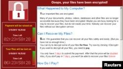"""Gambar screenshot dari ransomware """"WannaCry"""" yang menyerang seluruh dunia pada bulan Mei lalu, (Foto courtesy: Symantec)."""