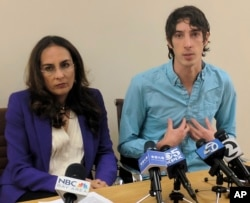 James Damore, right, a former Google engineer fired in 2017 after writing a memo about the biological differences between men and women, speaks at a news conference while his attorney, Harmeet Dhillon, listens, Jan. 8, 2018, in San Francisco.