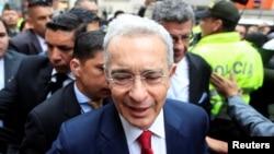 El expresidente de Colombia, Álvaro Uribe, llega a la Corte Suprema de Justicia el 8 de octubre de 2019.