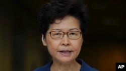 香港領導人林鄭月娥(10月8日)星期二記者會上。