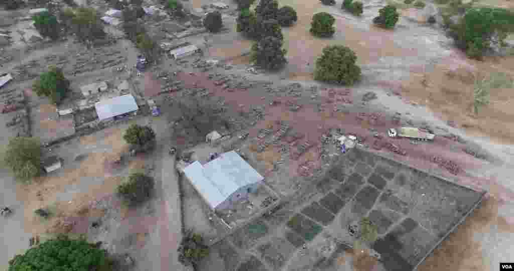 Photo aérienne du dépôt de Sare Bodjo (Haidar el Ali)