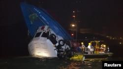 2일 홍콩 람마섬 인근 해상에서 발생한 선박 충돌 사고 현장.