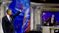 Presidente Barack Obama depois da entrevista para programa televisivo Daily Show with Jon Stewart em Washington, D.C., 27 Out 2010.