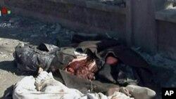 敘利亞官方電視台播放的畫面顯示星期五發生在阿勒頗的爆炸造成死亡的部份屍體