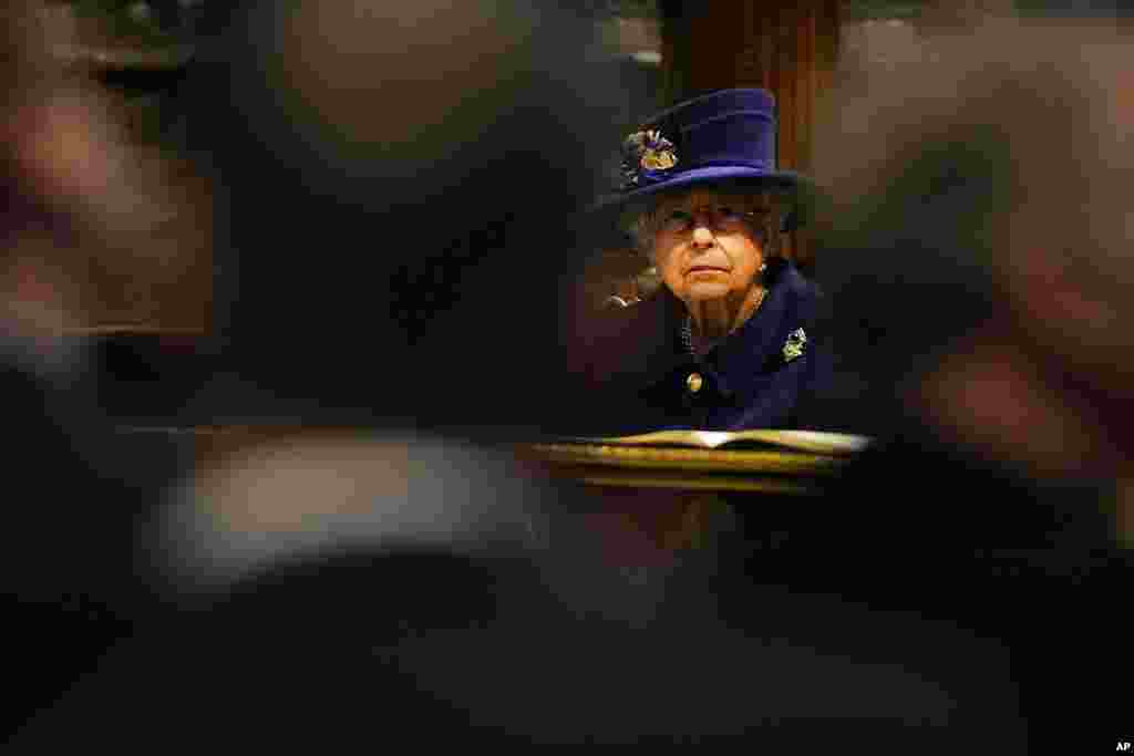 Britain's Queen Elizabeth II, Patron, attends a Service of Thanksgiving to mark the Centenary of the Royal British Legion at Westminster Abbey, in London.