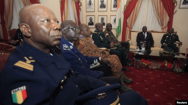 ECOWAS Chiefs of Staff are seen during an Extraordinary meeting of ECOWAS on the crisis in Mali, in Abidjan, January 26, 2013.
