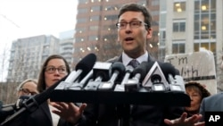 Washington Attorney General Bob Ferguson talks to reporters Friday, Feb. 3, 2017, following a hearing in federal court in Seattle. A U.S. judge on Friday temporarily blocked President Donald Trump's ban on people from seven predominantly Muslim countries.