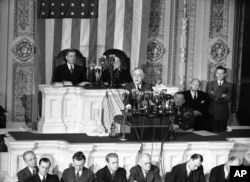 FILE - This Jan. 7, 1943, photo shows President Franklin D. Roosevelt giving what was then known as the president's annual message to Congress on Capitol Hill in Washington.