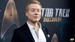 "FILE - In this Sept. 19, 2017 file photo, Anthony Rapp, cast member in ""Star Trek: Discovery,"" poses at the premiere of the new television series in Los Angeles. Spacey says he is ""beyond horrified"" by allegations that he made sexual advances on Rapp when he was a teen boy in 1986."