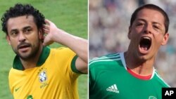 Hai đội Mexico và Brazil gặp nhau tại thành phố Fortalera, đông bắc Brazil hôm nay.