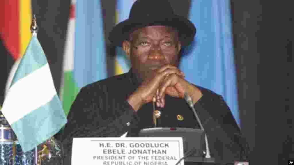Shugaba Goodluck Jonathan na jawabi a wurin taro, 2, ga Satumba 2014.
