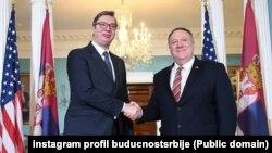 Aleksandar Vučić, predsednik Srbije, i Majk Pompeo, državni sekretar tokom posete srpskog predsednika Vašingtonu marta 2020; arhivska fotografija (instagram profil buducnostsrbije)