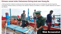 Trang VietnamNet loan tin tàu TQ đâm chìm tàu cá Việt Nam. Photo VietnamNet