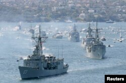 호주 해군함들이 시드니로 입항하고 있다. (자료사진)