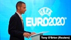 Le président de l'UEFA, Aleksander Ceferin, lors du lancement du futur Euro 2020 à Londres le 21 septembre 2016.