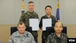美韩两国签署军事合作协议(视频截图)