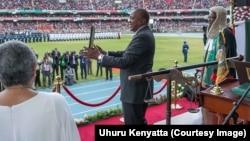 Le président Uhuru Kenyatta lors de son investiture à Nairobi, Kenya, 28 novembre 2017. (Facebook/Uruhu Kenyatta)
