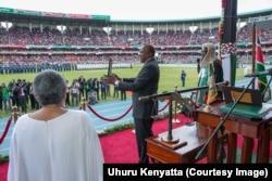 FILE - Kenya's President Uhuru Kenyatta is seen during his inauguration ceremony at Kasarani Stadium in Nairobi, Kenya, Nov. 28, 2017.