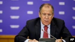Russian Foreign Minister Sergey Lavrov speaks at the Foreign Ministry's headquarters in Moscow, Russia, Oct. 20, 2014. In a phone call with U.S. Secretary of State Rex Tillerson, Oct. 9, 2017, Lavrov said any escalation of tensions on the Korean peninsula is unacceptable.