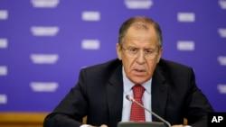 Ngoại trưởng Nga Sergei Lavrov phát biểu tại Moscow.