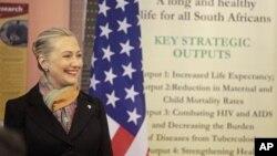 Menteri Luar Negeri AS, Hillary Clinton di Cape Town, Afrika Selatan (8/8).