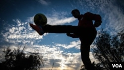 Fahim Ahmadi was a fast-rising soccer player in Afghanistan, and had played for his national youth team before joining the Hope Refugees United team in Athens. (J. Owens/VOA)