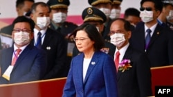 Taiwan's President Tsai Ing-wen attends national day celebrations in front of the Presidential Palace in Taipei, Oct. 10, 2021.