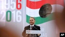 빅토르오르반헝가리 총리가 지난달 23일 부다페스트 다운타운에서 열린 행사에서 연설하고 있다. (자료사진)