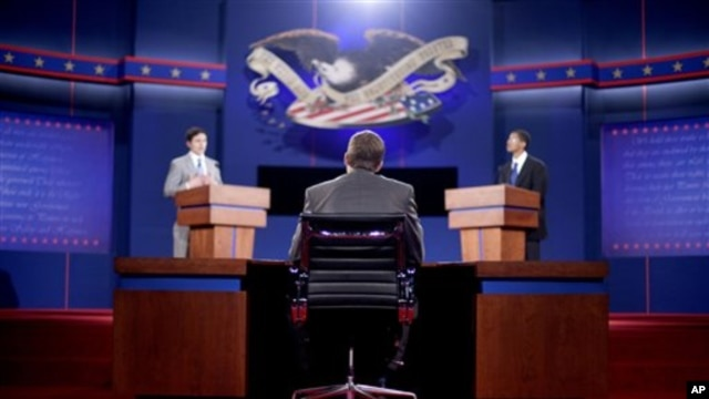 Stand-ins for moderator Jim Lehrer (C), Republican presidential candidate, former Massachusetts Governor Mitt Romney (L) and President Barack Obama (R), run through a rehearsal for the first presidential debate on Wednesday at the University of Denver, in