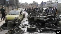 大馬士革街道一處爆炸現場(5月5日)