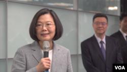 台灣總統蔡英文2019年3月21日在台北講話。 (美國之音海倫)