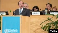美國衛生與公眾服務部部長阿扎爾2019年5月20日在第72屆世界衛生大會上發表講話(美國衛生與公眾服務部推特)