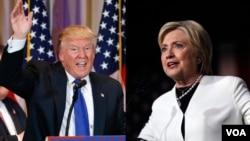 """Ứng viên tổng thống Đảng Cộng hòa Donald Trump và ứng viên tổng thống Dân chủ Hillary Clinton phát biểu với các ủng hộ viên sau khi kết quả của ngày """"Siêu thứ Ba"""" được công bố hôm 1/3."""