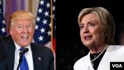'Yan Takarar Da Ke Kan Gaba a Jam'iyyun Republican Da Democrat, Donald Trump Da Hillary Clinton