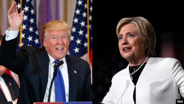 In this composite image, US presidential candidates Donald Trump, left, and Hillary Clinton, right, speak to supporters following strong Super Tuesday performances.