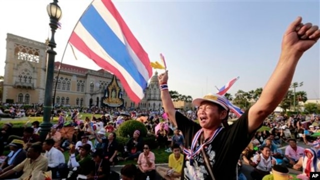 Thai anti-government protesters rally in Bangkok, March 29, 2014.