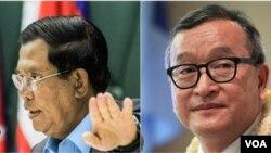 លោកនាយករដ្ឋមន្ត្រី ហ៊ុន សែន (ឆ្វេង) និងលោក សម រង្ស៊ី (ស្តាំ)។ (Reuters/Leng Len/VOA Khmer)
