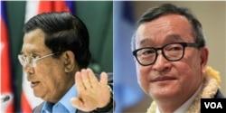 លោកនាយករដ្ឋមន្ត្រី ហ៊ុន សែន (ឆ្វេង) និងលោក សម រង្ស៊ី (ស្តាំ) អតីតប្រធានគណបក្សសង្គ្រោះជាតិ។ (Reuters/Leng Len/VOA Khmer)