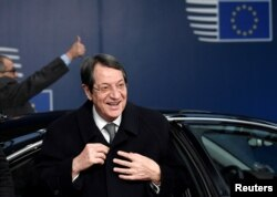 Cypriot President Nicos Anastasiades arrives at an extraordinary EU leaders summit to to discuss the Brexit agreement in Brussels, Nov. 25, 2018.