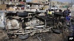 29일 이라크 바그다드에서 벌어진 연쇄 폭탄 공격 현장.