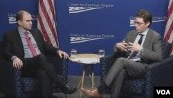 အေမရိကန္-အာဆီယံ ထိပ္သီးေဆြးေႏြးပြဲ အႀကိဳ ေဖေဖၚ၀ါရီလ ၁၁ ရက္ေန႔ ဝါရွင္တန္ၿမိဳ႕ေတာ္ Center for American Progress မွာ ျပဳလုပ္တဲ႔ သတင္းစာ ရွင္းလင္းပြဲ။