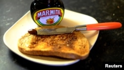 Toast with Marmite sits on a kitchen counter in Manchester, Britain, Oct. 13, 2016.