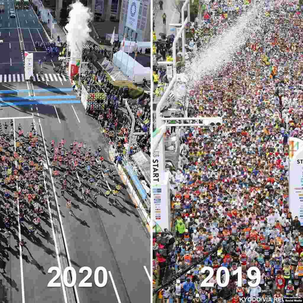 رقابت دوش ماراتن در شهر توکیو در جاپان