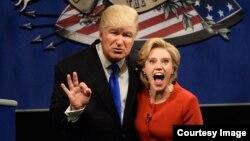 Donald Tramp va Hillari Klintonning tungi shoulardagi aksi