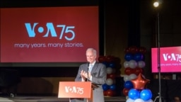 BBG CEO John Lansing honors guests at the VOA 75th anniversary event, March 2, 2017.