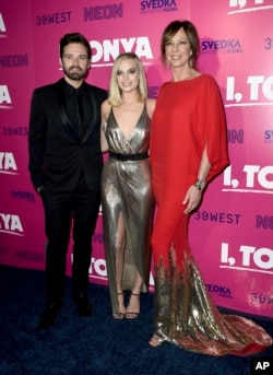"Sebastian Stan, from left, Margot Robbie and Allison Janney arrive at the Los Angeles premiere of ""I, Tonya"" at the Egyptian Theatre on Tuesday, Dec. 5, 2017. (Photo by Jordan Strauss/Invision/AP)"