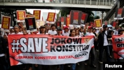 FILE - Protesters in Jakarta rally in Feb. 2015 in support of General Budi Gunawan as national police chief, despite allegations of corruption.