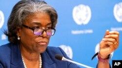 美国驻联合国大使琳达·托马斯-格林菲尔德(2021年3月1日资料照片)